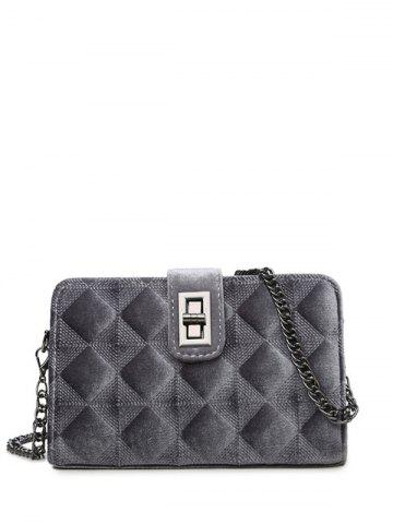 Outfit Chains Rhombic Velour Crossbody Bag