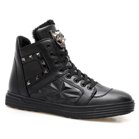 Cheap Flocking Metal Rivet High Top Shoes