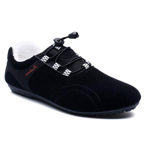 New Elastic Band Flocking Suede Casual Shoes BLACK 43