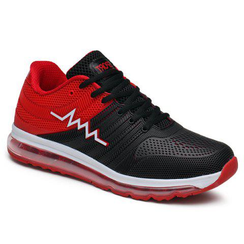 Buy Air Cushion Color Block Mesh Athletic Shoes - Red 44