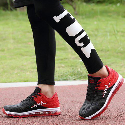 Sale Air Cushion Color Block Mesh Athletic Shoes - 41 RED Mobile