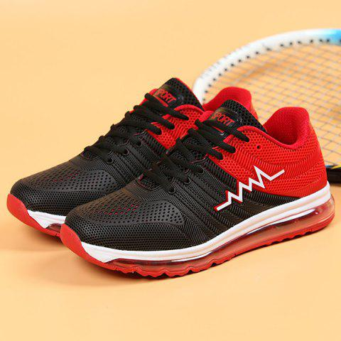 Chic Air Cushion Color Block Mesh Athletic Shoes - 41 RED Mobile