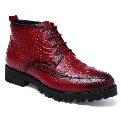 Sale Embossed Lace Up PU Leather Boots