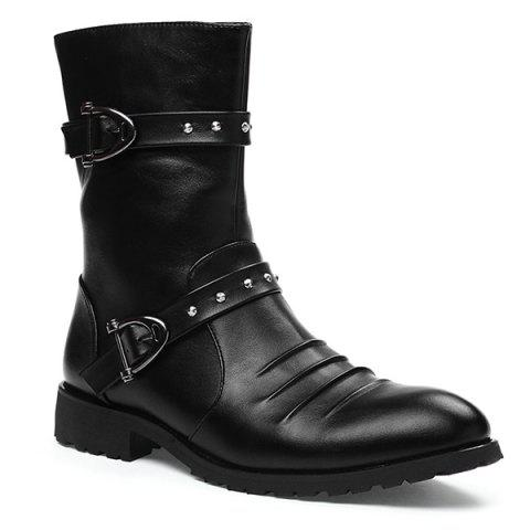 Affordable Ruched Buckle Straps Mid Calf Boots
