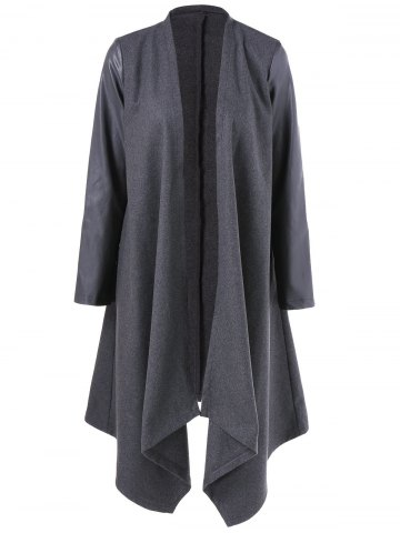 Buy Asymmetrical PU Leather Sleeve Coat - L GRAY Mobile