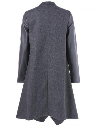 Sale Asymmetrical PU Leather Sleeve Coat - L GRAY Mobile