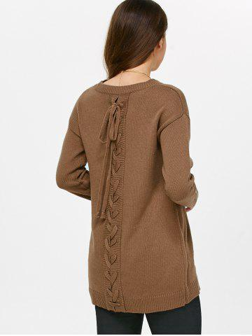 Fancy Drop Shoulder Lace-Up Sweater CAMEL ONE SIZE(FIT SIZE XS TO M)