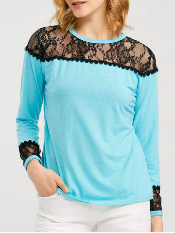 Hot Long Sleeve T Shirt With Lace Trim