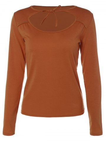 Store Cut Out Chest Long Sleeve T-Shirt