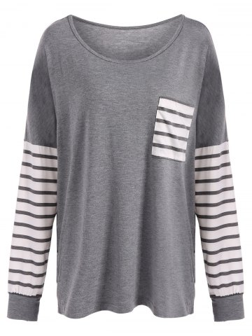 Shop Drop Shoulder Stripe Pocket T-Shirt GRAY XL