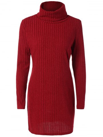 Shop Turtleneck Ribbed Mini Sweater Dress