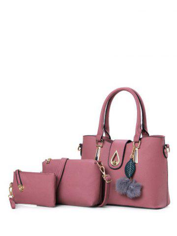 Twist-Lock Metal Faux Leather Tote Bag - Deep Pink