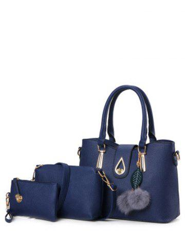 Twist-Lock Metal Faux Leather Tote Bag - Deep Blue