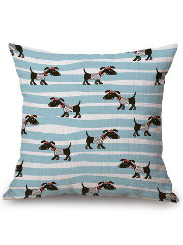 Outfit Dog Stripe Print Linen Office Chair Sofa Pillow Case