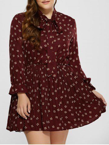 Plus Size Printed Pussy Bow Dress - Wine Red - 5xl