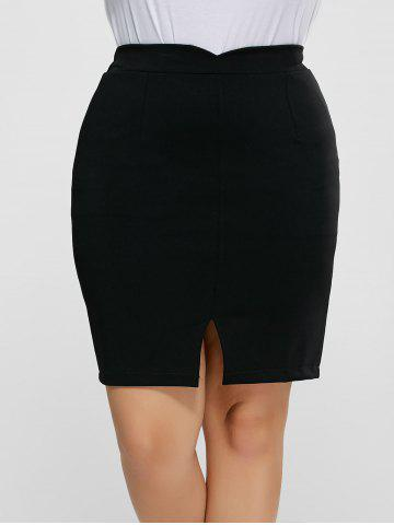 Fancy Front Slit Plus Size High Waisted Skirt - 5XL BLACK Mobile