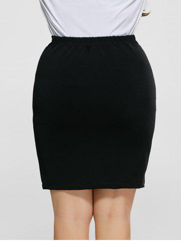 Cheap Front Slit Plus Size High Waisted Skirt - 5XL BLACK Mobile