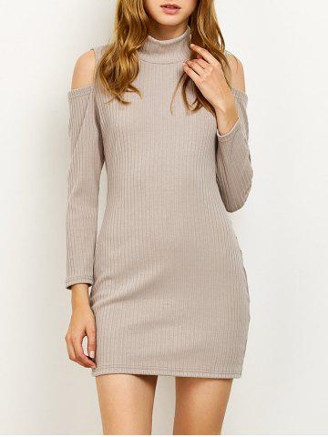 Store High Neck Cold Shoulder Fitted Sweater Dress