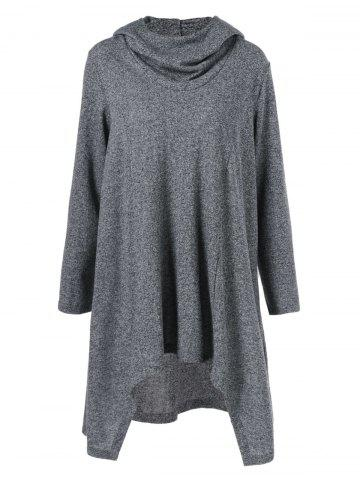 Fashion High Low Hem Hooded Coat - M GRAY Mobile