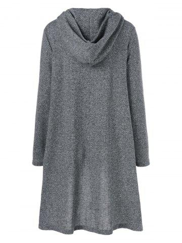 Fancy High Low Hem Hooded Coat - XL GRAY Mobile