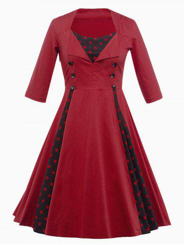 Outfit Vintage Polka Dot Insert Swing Dress - M DEEP RED Mobile