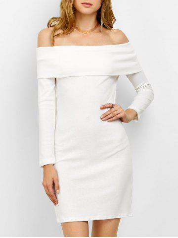 Latest Off the Shoulder Bodycon Long Sleeve Party Mini Dress WHITE M