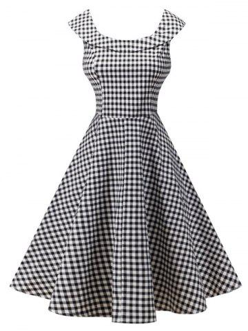 Discount Plaid Knee Length Pin Up Dress