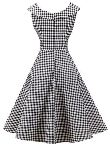 Affordable Plaid Knee Length Pin Up Dress - M BLACK WHITE Mobile