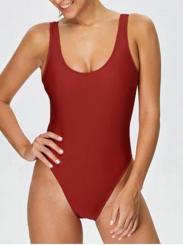 Sale Backless High Cut One Piece Swimwear RED M