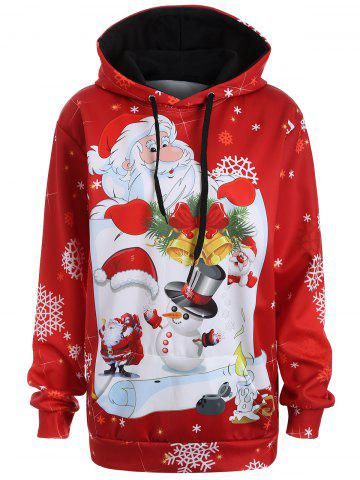 Buy Christmas Plus Size Snowman Kangaroo Pocket Hoodie - 5XL RED Mobile