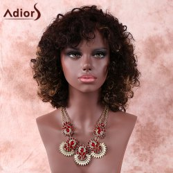 Brown Medium Side Bang Afro Curly Prevailing Women's Synthetic Hair Wig