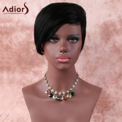 Natural Black Fashion Short Straight Side Parting Synthetic Wig For Women - BLACK