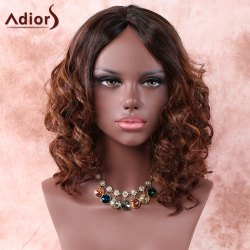 Medium Side Parting Ombre Curly Synthetic Wig