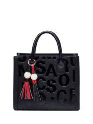 Metal Ring Letter Pattern Tassels Tote Bag
