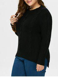 High Low Hem Cable Knit Sweater -