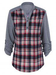 Plus Size Split-Neck Plaid Trim Blouse - GRAY