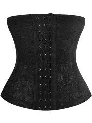 Embroidery Jacquard Waist Trainer Corset - BLACK