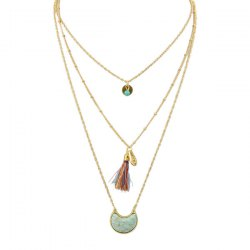 Faux Turquoise Moon Tassel Layered Necklace -