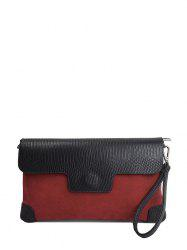 Embossing Magnetic Closure PU Leather Cluth Bag - CLARET