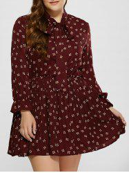 Plus Size Printed Pussy Bow Dress - WINE RED XL