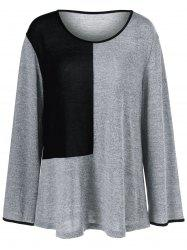 Plus Size Color Block Smock T-Shirt - BLACK/GREY XL