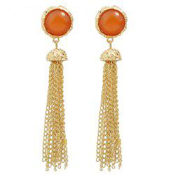 Faux Gem Link Tassel Drop Earrings