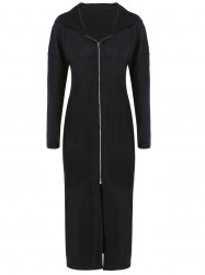 Plus Size Zip Front Hooded Dress