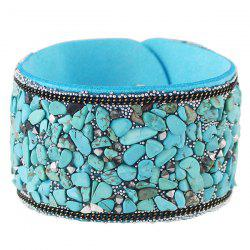 Punk Faux Leather Gravel Wide Bracelet