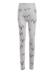 Plus Size Elastic Waist Printed Leggings - BEIGE 4XL