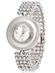 Big Dial Plate Beaded Bracelet Watch