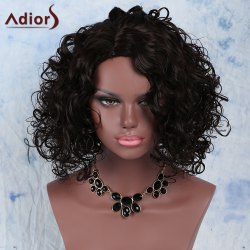 Stunning Afro Curly Synthetic Dark Brown Medium Capless Wig For Women