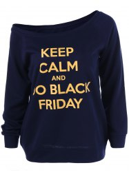 Black Friday Skew Collar Graphic Sweatshirt -