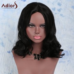 Elegant Synthetic Medium Fluffy  Wavy Black Wig For Women
