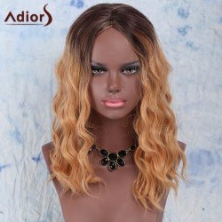 Trendy Synthetic Medium Curly Gold Blend Centre Parting Wig For Women - COLORMIX